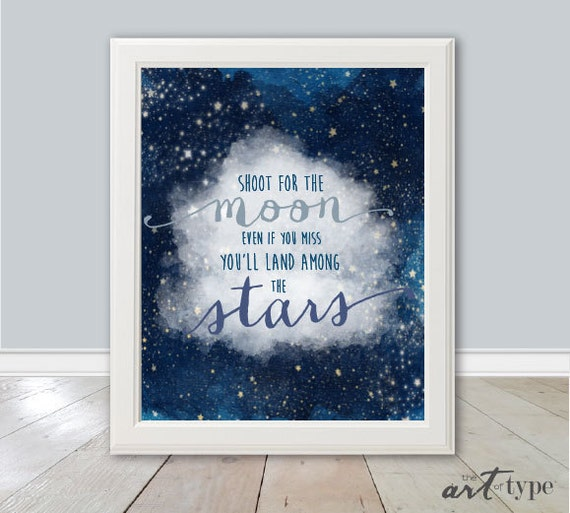 Inspirational Quotes On Pinterest: Shoot For The Moon Stars Print INSTANT DOWNLOAD By