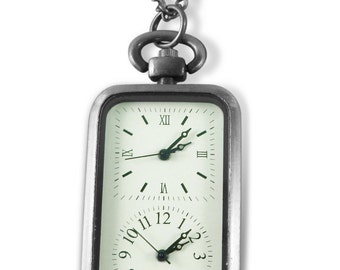 Photo & text engraved / personalised two dial pocket watch + gift box - LR46