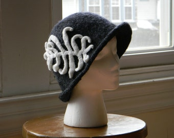 Felted charcoal grey black white women's wool knit hat cloche 1920s stylized felted white fern--White Fern
