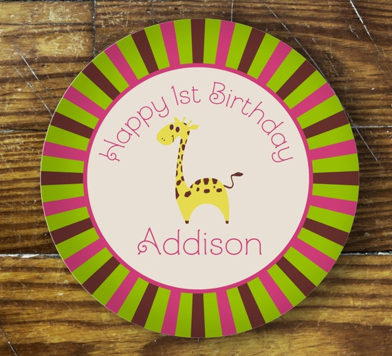 Personalized Dinner Plate or Bowl - Birthday Giraffe