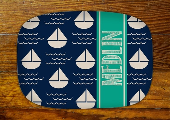 Personalized Serving Platter-Sailboat