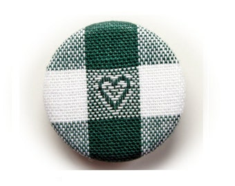 Heart green pin back button or magnet