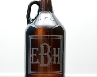 Triple Square Monogrammed Personalized Beer Growler, Christmas Gift, Beer Gift, Husband Gift, Engraved Growler, Etched Growler,Gifts for Him