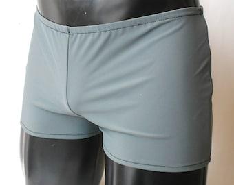 Mens Spandex Shorts L Large 34-38 Lycra Hotpants Matte Grey Swim Beachwear Superhero Yoga Booty Shorts Male Underwear Pants Gym Mooners