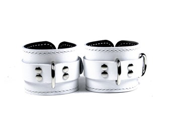 White Leather Locking Cuffs with Black Leather Lining - Pair of Wrist Cuffs (or) Ankle Cuffs