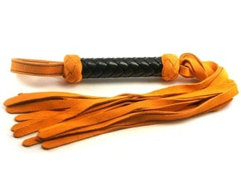 Orange Suede Classic Flogger - Black Braided Handle