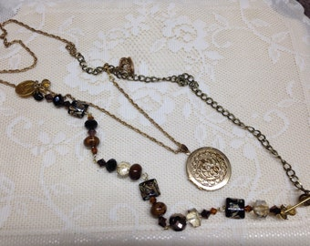 Black/ brown gold tone beaded filigree locket charm vintage assemblage necklace, crown,scales, upscaled/repurposed/mixed media/altered art