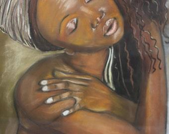 """Pastel """"Mina Femme d'Afrique""""-Portrait"""