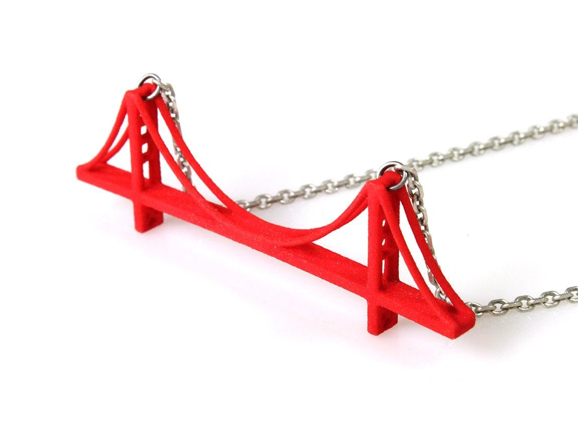 Golden gate bridge necklace 3d printed nylon for Golden gate bridge jewelry