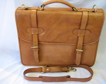 Vintage D'Italla British Tan Leather Briefcase