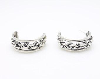 Lovely Vintage Sterling Silver Half Hoop Earrings w Chain Centers. [3769]