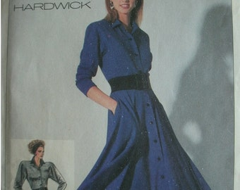 Misses Easy to Sew Dress Size 14 Designed By Cathy Hardwick for Simplicity Pattern 7741 Vintage 1986 UNCUT PATTERN
