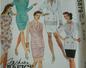 Misses Two Piece Dress Size 8-10-12 McCalls Fashion Basics Pattern 5879 Select-a-size Petite-able UNCUT PATTERN Dated 1992