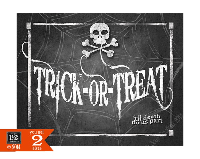 Halloween Wedding Trick or Treat Sign Printable Digital File - 4 sizes - instant download - Wicked Collection