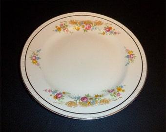 """Homer Laughlin Eggshell Georgian 6 1/4"""" bread plate gorgeous rose border K41N5"""