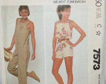 McCall's 7573 Misses' Romper / Jumpsuit Sewing Pattern Size: Small