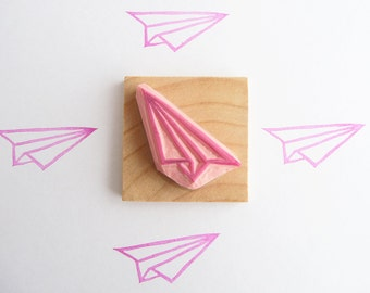 Origami plane hand carved rubber stamp