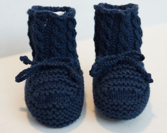 Baby Booties Hand Knit with Cables Navy Blue