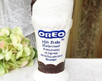 Oreo cookie Milkshake cup, mug, sundae tumbler, glass recipe, retro, kitsch, dessert, kitchen wares serving, ceramic, retro