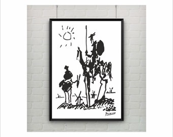 Pablo Picasso Art Paintings / Don Quixote Print / poster on paper (from US Letter and A4 up to A0 size) or rolled canvas for cild room decor