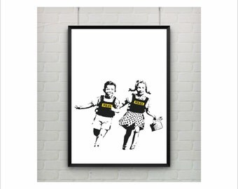 Police Kids by Banksy Print / Graffiti Art / US Letter and A4 up to A0 size / Street Art / Wall Art / Contemporary Decor / Provocative Humor