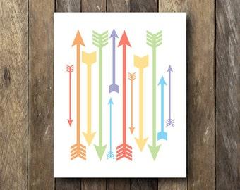 Colorful Wall Art - Arrows Printable - Instant Download 8x10 - Arrow Print - Colorful Nursery Art - Arrows Art Print - Rainbow Wall Art