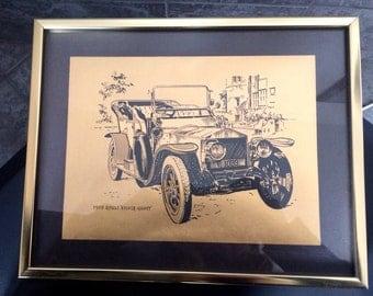 1909 Rolls Royce Silver Ghost Vintage Gold & Black Framed Picture