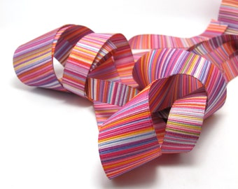 4 Widths|Printed Grosgrain Printed Ribbon|Double Sided|Pink|Stripy|Colorful|Craft Supplies Bow Embellishment|Bright Vibrant Colors|Gift Wrap