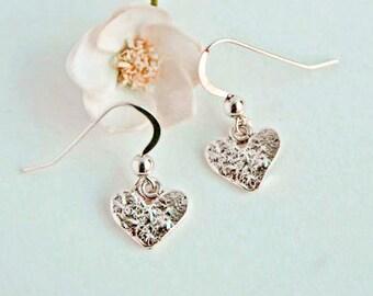 Silver Heart Earrings Unique Sterling Silver Dangle Earrings Simple Earrings Boho Jewelry Bohemian Earrings Heart Earrings Trending Items