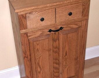 Oak Tilt out Trash Can/ Trash Bin/ Cabinet to hide Trash with draw