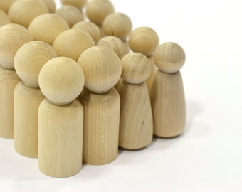 5-Sets (10 pieces) Father and Daughter Wood Peg Doll Set-Solid Hardwood Natural Unfinished High Quality Turnings-Ready for Paint