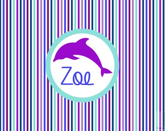 Girls Dolphin Monogrammed Placemat. Laminated and custom made. Make meal time fun and simple! Custom colors available! Hostess gifts!