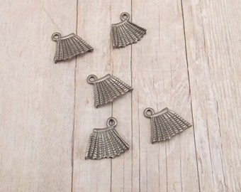 Set of 5 Silver Pewter Charms - Pleated Skirt - Clothing