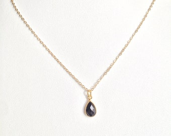 Grounding & Self Confidence ~ Handmade Gold Filled Black Onyx Drop Necklace ~ 14k Gold upon Request