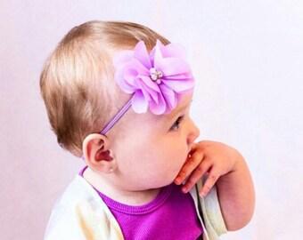 Lavender Baby Headband- Chiffon Flower - Photo Prop Headband - Baby Girl Headband - Baby Headband - Infant Headband - Newborn Headband