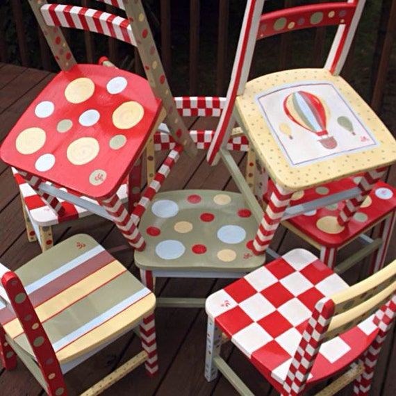 Hand Painted Child Wooden Chairs Child Bedroom Class