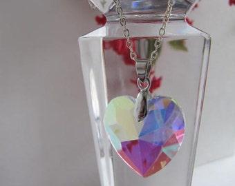 Jewerly, Heart Jewerly, Womens Jewelry, Women's Necklace, AB Crystal Heart, Heart Jewelry, Heart Necklace, Woman,Heart, Valentine Heart
