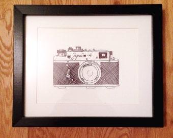 Vintage Camera Hand Drawn Illustration