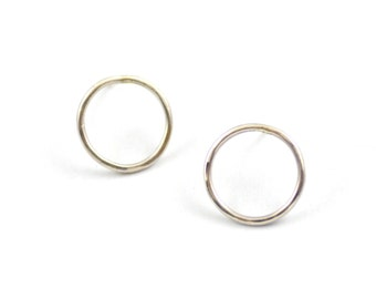 Minimal Circle Studs - Modern Sterling Silver Earrings