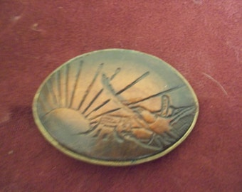Vintage Brass With Leather Engraved Top Belt Buckle