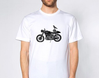 KillerBeeMoto: Limited Release Raven On A German Motorcycle Short Sleeve T-Shirt Black And White