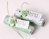 "Mint Wedding Favors with Personalized ""Mint to be"" tag - Set of 24 favors - mint green wedding, mint to be, mint to be favors, mint chevron"