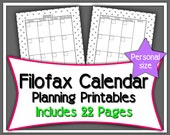 Filofax Calendar & Note Printable Refills- Personal Size