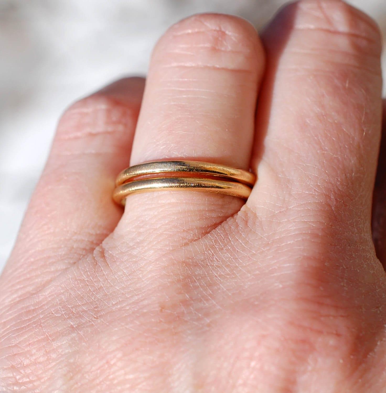 22k GOLD RING - Wedding Band - High Karat Gold Ring - Forged Gold ...