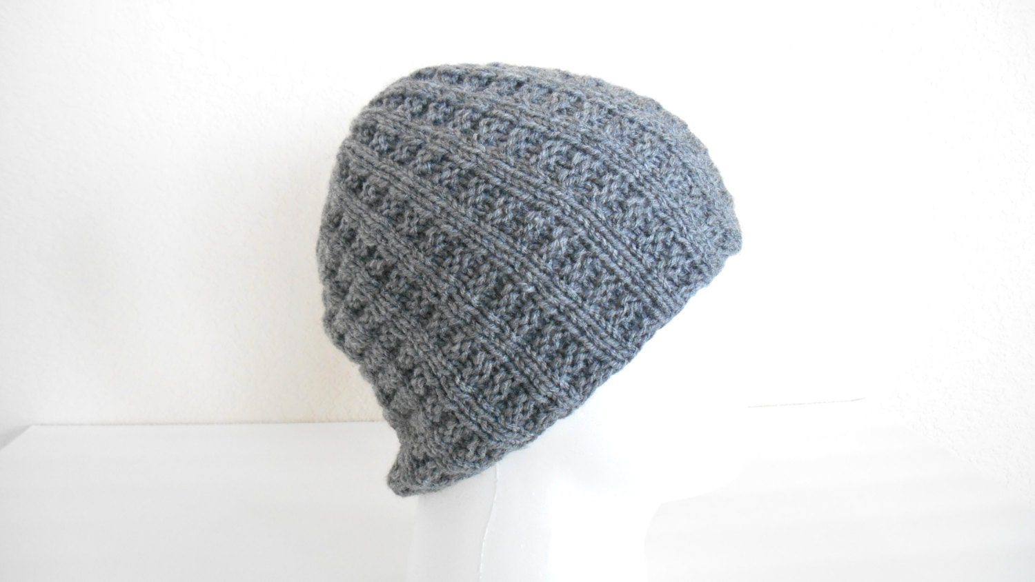 Large Knit Men s Hat - Vegan Knit Beanie - Non Wool Men s Knit Hat - Gray 043ff96d2e0