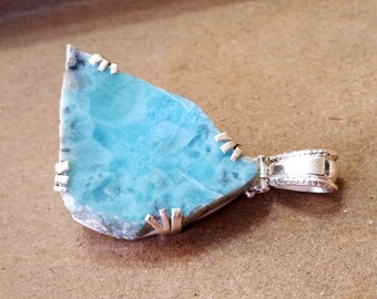 Dominican Republic Larimar Freeform Slab Solid .925 Sterling Silver Pendant Necklace Focal