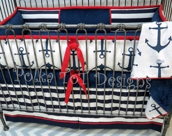 Baby Bedding Nautical Red White & Blue Anchors Set:CARSON