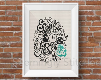 Counted Cross Stitch Pattern - Ampersand Text - Instant Digital Download PDF