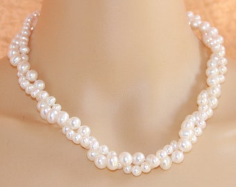 Bridal pearl necklace,twisted pearl necklace,2 strand pearl necklace choker,bridesmaid pearl necklace,wedding jewelry,chunky pearl necklace