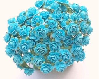 50 Turquoise Mulberry Paper Roses 10mm (1 cm)